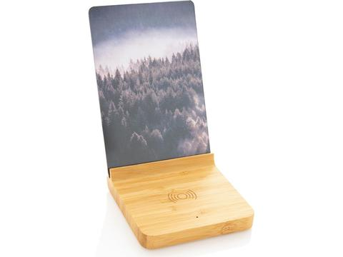 Bamboo 5W wireless charger with photo frame