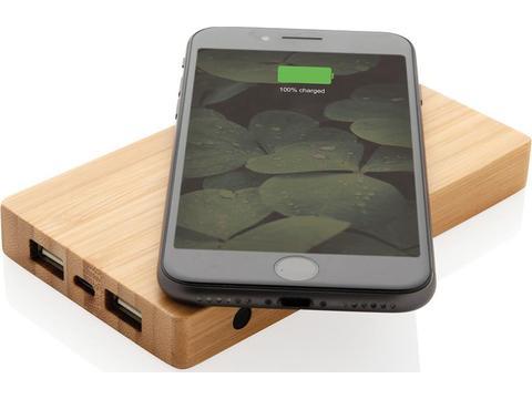 Bamboe powerbank met 5W draadloze oplader - 4.000 mAh