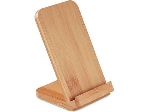 Bamboe telefoonstandaard met draadloze oplader