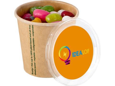 Bio karton beker gevuld met jelly beans