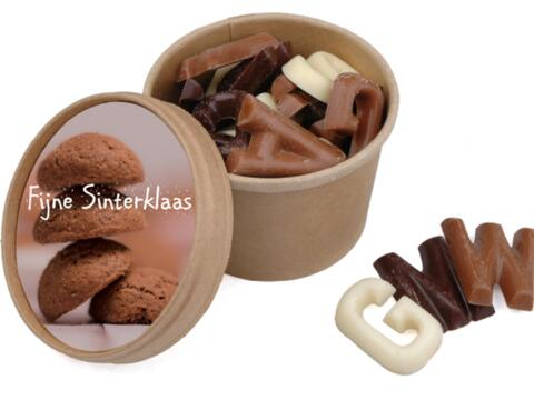 Saint  Nicolas cup with chocolate letters - 100 gr.