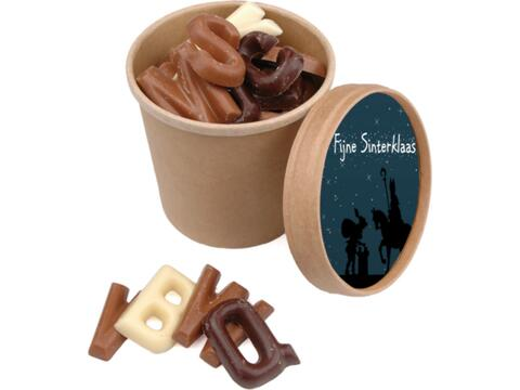 Saint Nicolas coupe avec des lettres en chocolat - 150 gr.