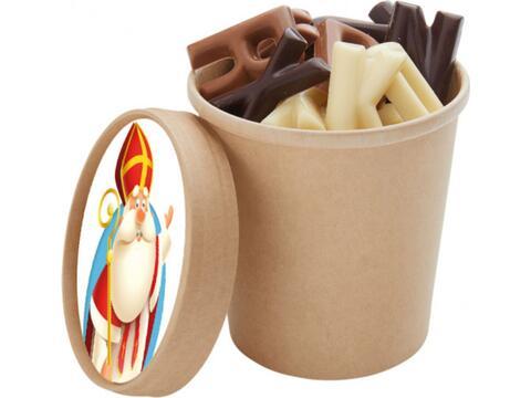 Saint Nicolas coupe avec des lettres en chocolat - 200 gr.