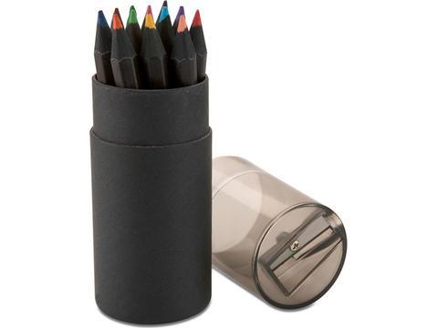 12 crayons de couleurs noirs