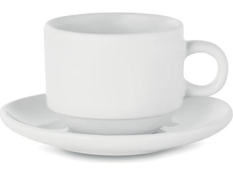 Tasse à cappuccino en grès avec revêtement