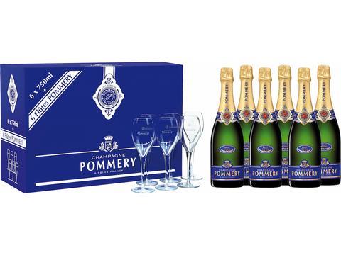 Champagne Pommery 6 flessen + 6 glazen
