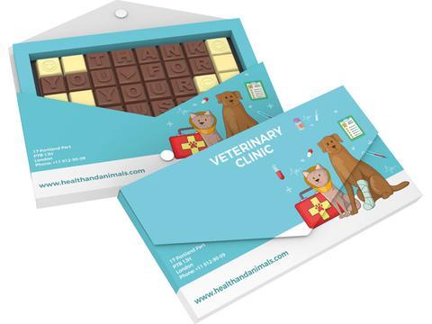 Chocoladetekst in gepersonaliseerde enveloppe - 32 letters