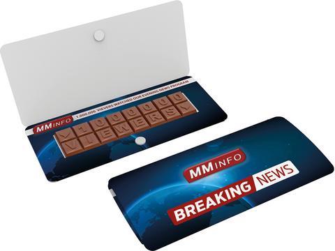 Chocoladetekst in gepersonaliseerde enveloppe - 16 letters