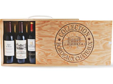 Collection de vin de Bordeaux.