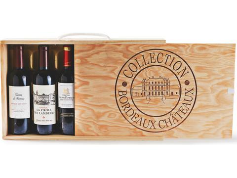 Collection de vin de Bordeaux.