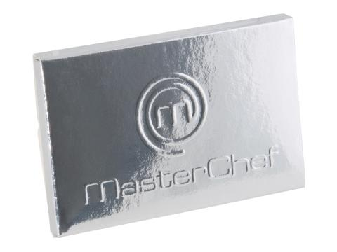 Credit card chocolate bar with embossing
