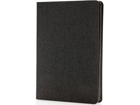 Deluxe stoffen notitieboek met zwarte zijkant