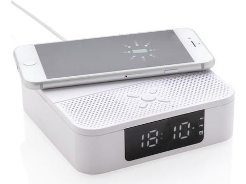 Draadloze oplader met speaker en digitale wekker