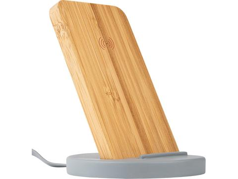 Wireless charging stand from Cement and Bamboo