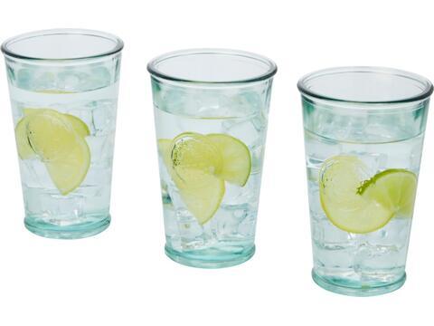 Driedelige glazen set van gerecycled glas - 300 ml