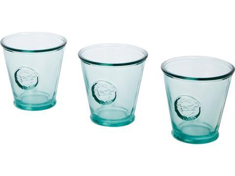 Driedelige waterglazen set van gerecycled glas - 250 ml