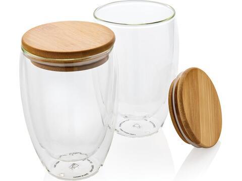 Double wall borosilicate glass with bamboo lid 350ml 2pc set