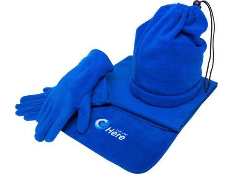 Fleece scarf, gloves, ski col