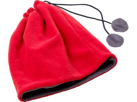 Bonnet et écharpe en laine polaire polyester 2-en-1