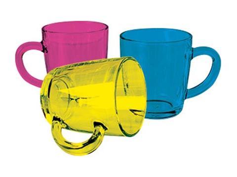 Gekleurde glazen mokken - 270 ml