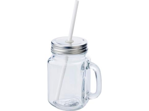 Glass mason drinking jar with handle - 480 ml
