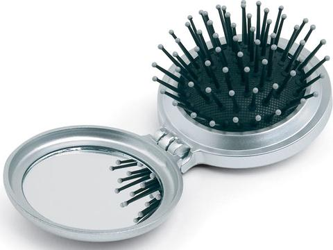 Foldable brush with mirror