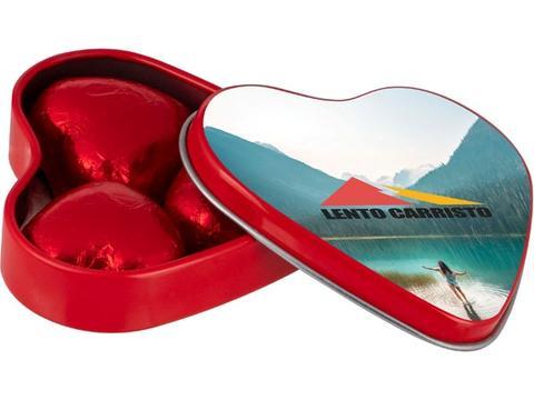 Hartenblikje met 3 chocolade hartjes