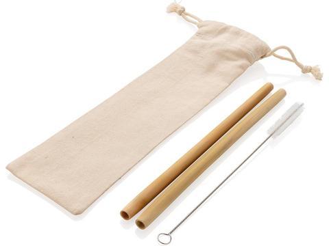Reusable ECO bamboo drinking straw set 2 pcs