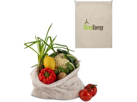 Herbruikbaar Groente & Fruit zakje Oeko-Tex katoen 40x45cm