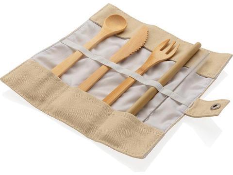 Reusable ECO bamboo travel cutlery set