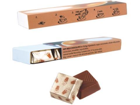 Chocolat chaud 3 pièces en boîte imprimée