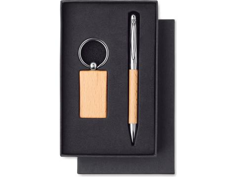 Wooden keyring and ball pen