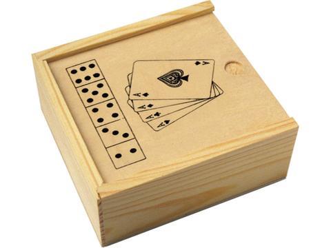 Houten doos met kaart- en dobbelspel