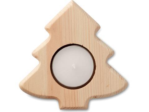 Houten kerstboom theelichtjes houder