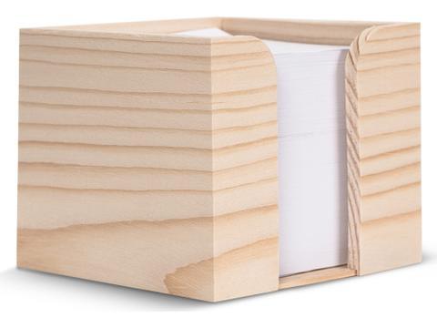 Houten kubushouder met recycled papier 10x10x8,5cm