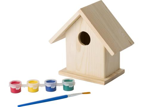 Wooden birdhouse with painting set