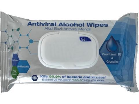 Hygiëne zakjes met 56 desinfecterende doekjes 75% alcohol