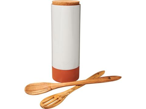 Terracotta pasta holder with spoons
