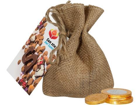 Jute zakje chocolade munten