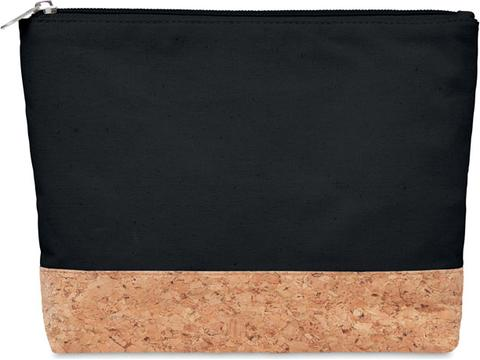 Cosmetic bag in cotton with cork detail
