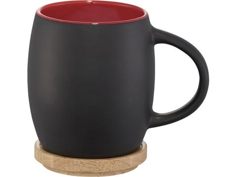 Hearth ceramic mug with wood lid/coaster