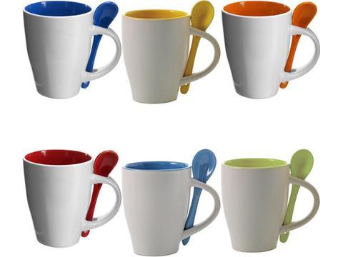 Ceramic mug with spoon - 300 ml