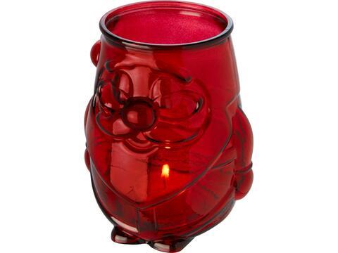 Kerstman theelicht houder van gerecycled glas