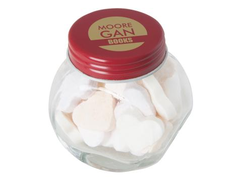 Mini candy jar filled with heart shaped sweets