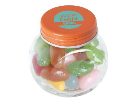 Petite bonbonnière en verre avec jelly beans