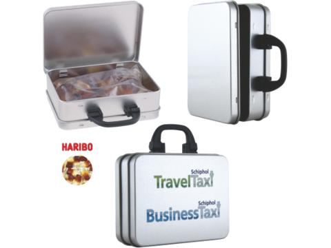 Suitcase tin with Haribo coke bottles
