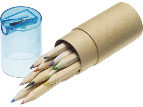12 Colour pencils with sharpener