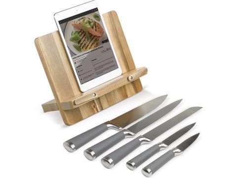 Cookbook stand including knives