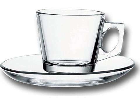 Kop en schotel transparant - 150 ml
