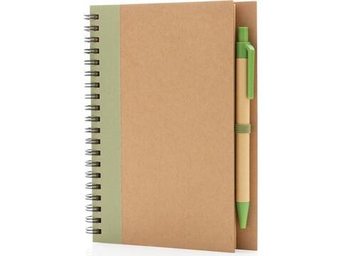 Kraft spiraal notitieboekje met pen